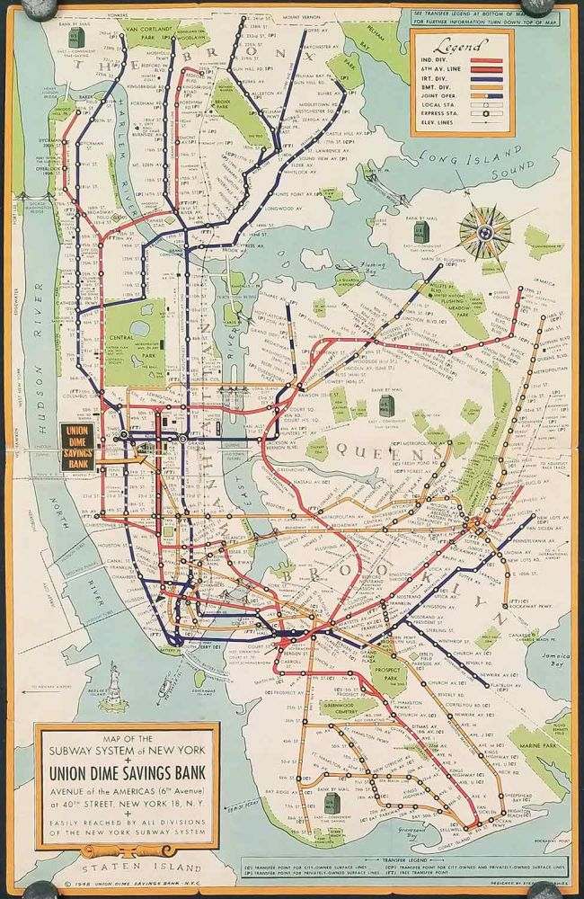 New York Subways. Map title: Map of the Subway System of New York. NEW YORK - NEW YORK CITY - SUBWAYS.