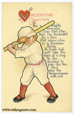 Valentine Greetings. I'm a mighty muscular Base Ball Man And I'm fascinated by a Fan. VALENTINE BASEBALL POSTCARD.