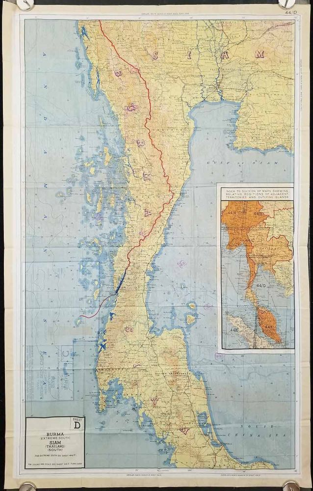 Sheet C - 44/C. Burma (South) Siam (Thailand) (West Central) French Indo China (Part of). Sheet D - 44/D. Burma (Extreme South) Siam (Thailand) (South). THAILAND / BURMA - SURVIVAL MAP / EVASION MAP/ ESCAPE MAP.