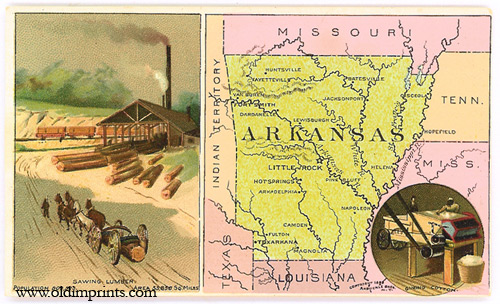 Arkansas. Arbuckle Bros. Coffee Co. trade card: map and vignette illustrations. ARKANSAS.