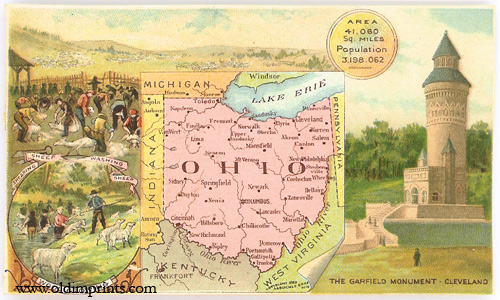 Ohio. Arbuckle Bros. Coffee Co. trade card: map and vignette illustrations. OHIO.