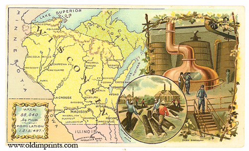 Wisconsin. Arbuckle Bros. Coffee Co. trade card: map and vignette illustrations. WISCONSIN.