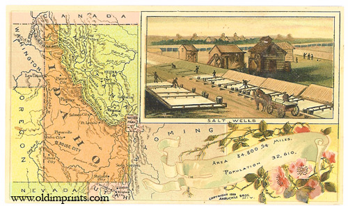 Idaho. Arbuckle Bros. Coffee Co. trade card: map and vignette illustrations. IDAHO.