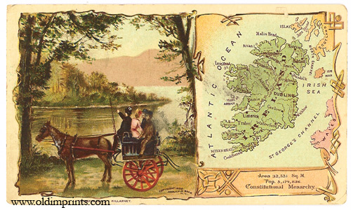 Ireland. Arbuckle Bros. Coffee Co. trade card: map and vignette illustrations. IRELAND.