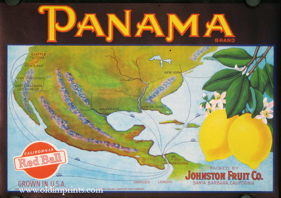 Panama Brand. NORTH AMERICA - PANAMA CANAL - FRUIT CRATE LABEL.