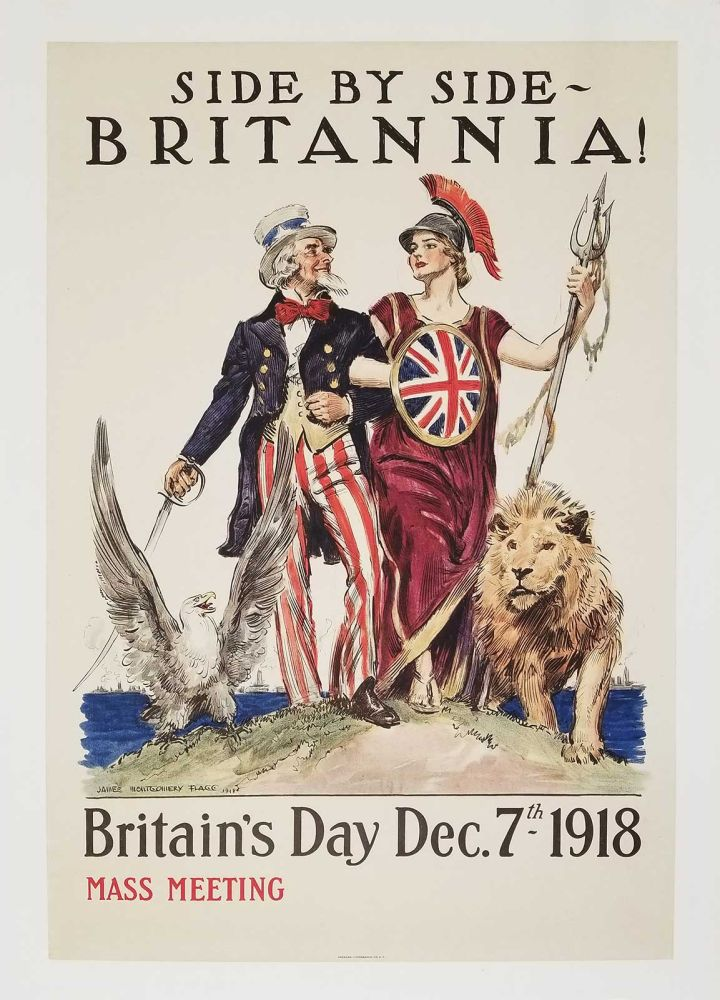 Side By Side - Britannia! Britain's Day Dec. 7th - 1918. Mass Meeting. BRITAIN - UNITED STATES - WORLD WAR I.