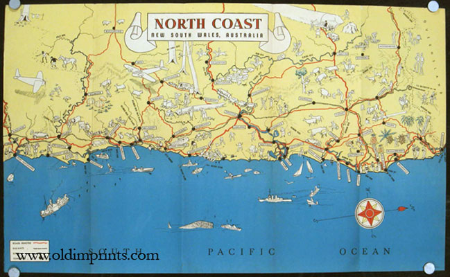 North Coast. New South Wales Australia. For the Tourist. AUSTRALIA - NEW SOUTH WALES - VINTAGE PICTORIAL MAP.