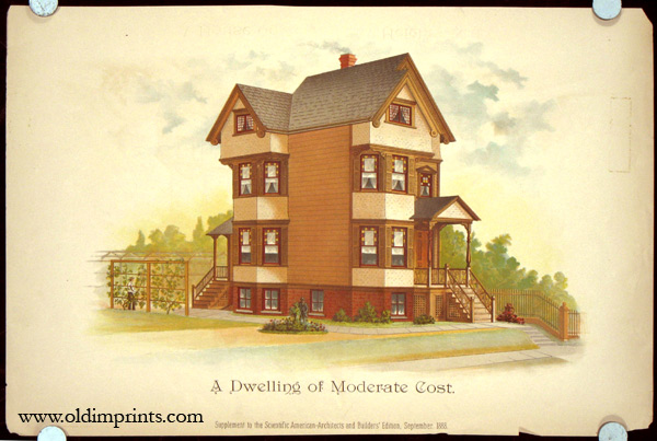 A Dwelling of Moderate Cost. AMERICAN VICTORIAN ARCHITECTURE / CHROMOLITHOGRAPH.