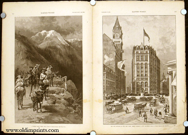 A Burro Party, Pike's Peak (in complete edition of Harper's Weekly magazine). COLORADO / BASEBALL / NEW YORK.