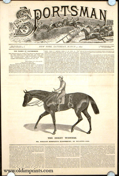 The Derby Winners. Mr. William Ridsdale's Bloomsbury, by Mulatto---1839. HORSE RACING.
