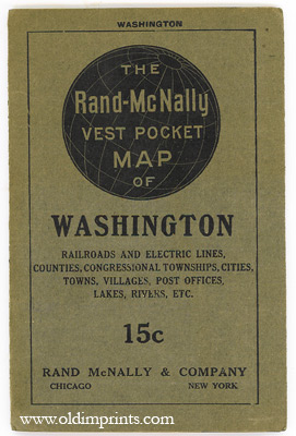 The Rand McNally Vest Pocket Map of Washington. Railroads, Electric Lines, Counties, Congressional Townships, Cities, Towns, Villages, Post Offices, Lakes, Rivers, etc. WASHINGTON.