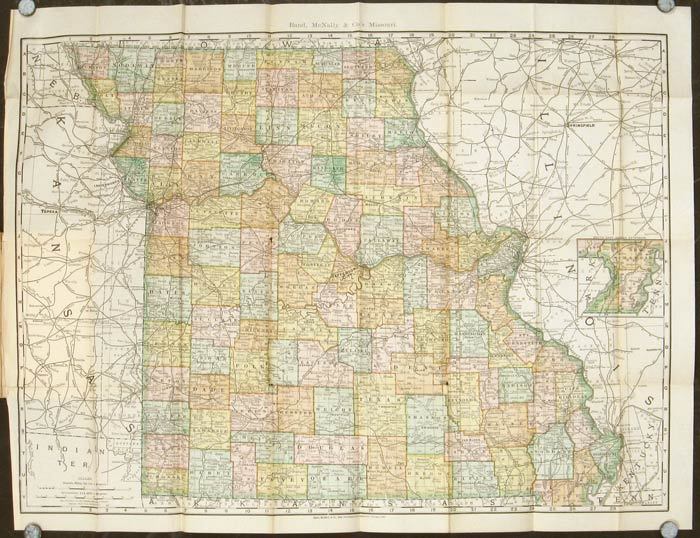 Rand McNally & Co.'s Indexed County and Township Pocket Map and Shippers' Guide of Missouri Accompanied by a New and Original Compilation and Ready Reference Index, Showing in Detail the Entire Railroad System. MISSOURI.