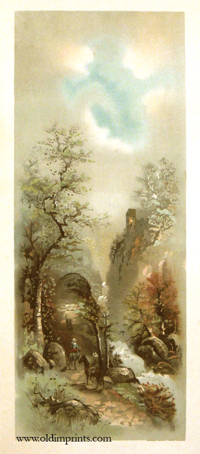 Untitled landscape of three men on horses riding though a heavily treed canyon. LANDSCAPE - VERTICAL.
