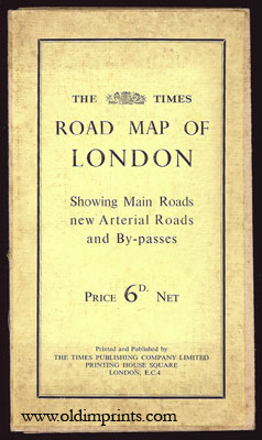 The Times Road Map of London Showing Main Roads new Arterial Roads and By-passes. ENGLAND - LONDON.