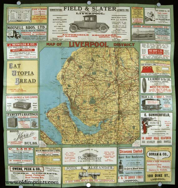 General Guide Map to the District of Liverpool. Map title: Map of Liverpool District. ENGLAND - LIVERPOOL.