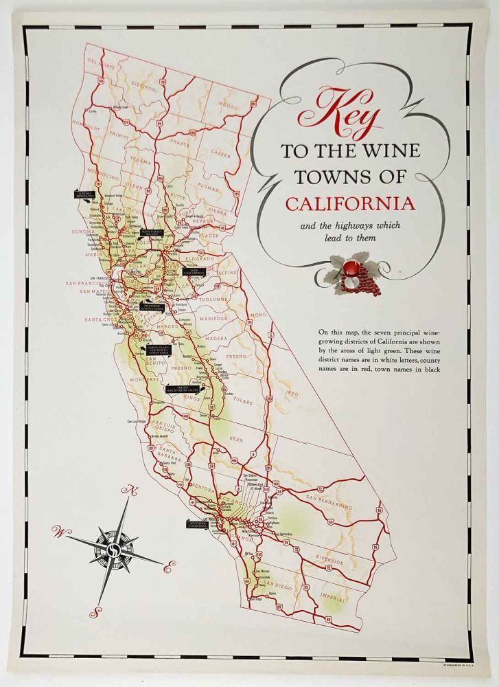 Key to the Wine Towns of California and the highways which lead to them. [VINTAGE POSTER]. CALIFORNIA - WINE REGIONS 1960?