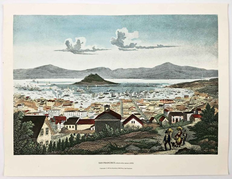 San Francisco, drawn after nature (1852). TWO COPIES - 1975 handcolored reproduction print - LARGE. CALIFORNIA - SAN FRANCISCO CITY VIEW.