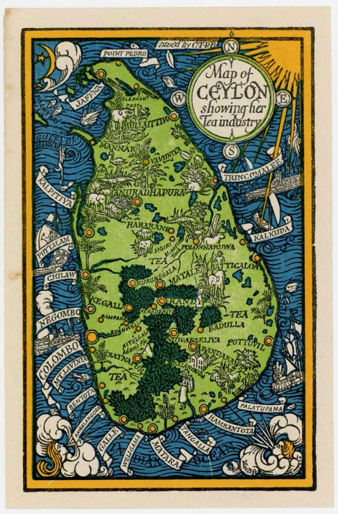 Map of Ceylon showing her Tea industry. SRI LANKA / CEYLON.