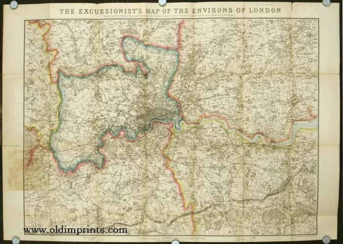 The Excursionist's Map of the Environs of London. Compiled specially to exhibit all the principal Gentlemen's Seats, Antiquities, & objects of interest to the Tourist, together with the Towns, Villages & Parish Boundaries. ENGLAND - LONDON.