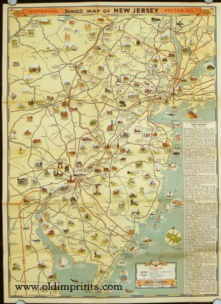 Road Map & Historical Guide. New Jersey. Map titles: Historical Pictorial Sunoco Map of New Jersey. / Sunoco Auto Road Map of New Jersey. NEW JERSEY.