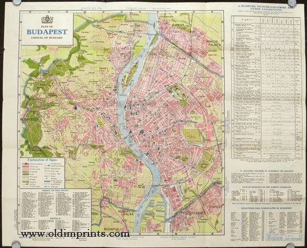Budapest Map and Guide. (Map title: Plan of Budapest. Capital of Hungary). HUNGARY - BUDAPEST.