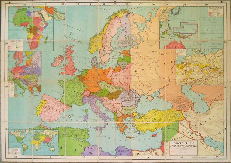 Europe in 1922 After the Treaties of Versailles, St. Germain, Neuilly, Trianon, and Sevres. EUROPE.