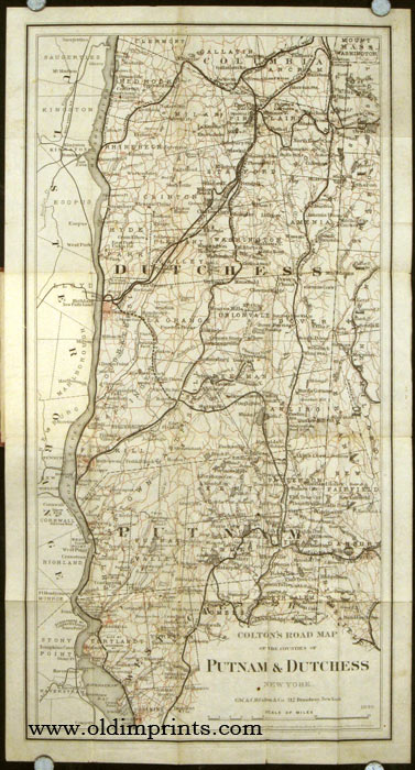 Colton's Road Map of Putnam and Dutchess Co's. New York. Map title: Colton's Road Map of the Counties of Putnam & Dutchess New York. NEW YORK - PUTNAM / DUTCHESS COUNTIES.