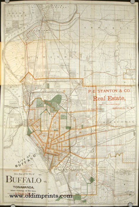 The Matthews Northrup Co's New Map of the City of Buffalo and Vicinity. 1892. Map title: New Map of the City of Buffalo and Towns of Tonawanda, Amherst, Cheektowaga, and West Seneca. Compiled and Corrected Up to Date from the Most Recent Official. NEW YORK - BUFFALO.