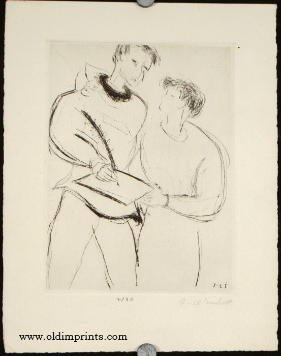 Untitled image of a two people, one signing a document. JEAN-CLAUDE IMBERT.