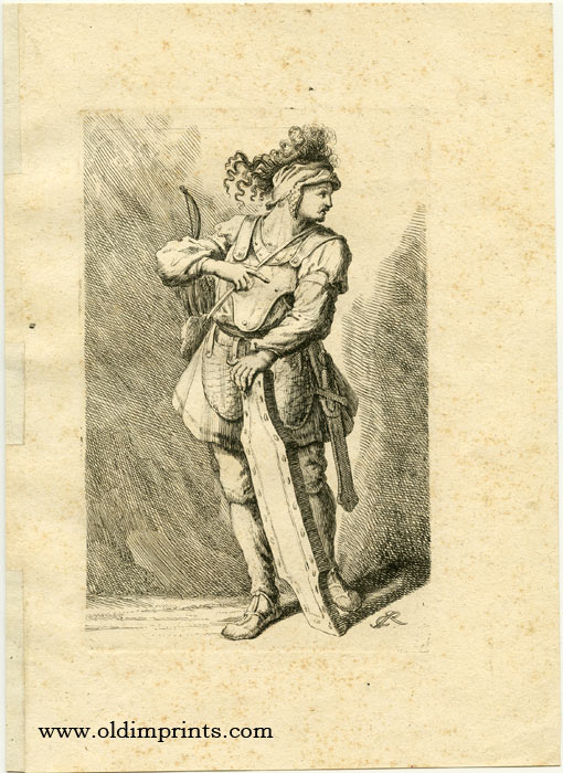 Untitled study of a male with bow and arrow, shield, and sword. RIDINGER.