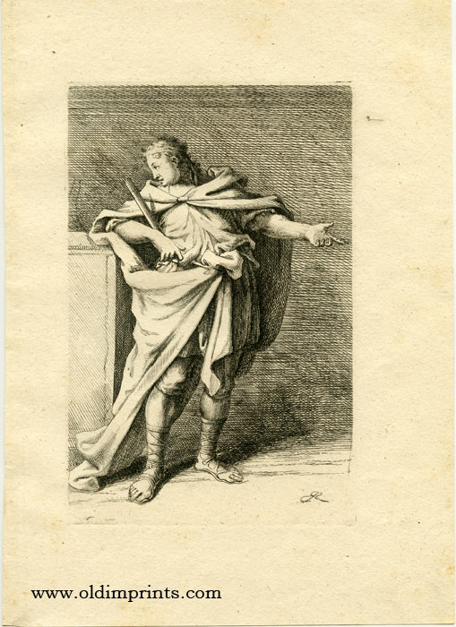 Untitled study of a gesturing male holding a paper scroll. [ORIGINAL ENGRAVING]. RIDINGER - GERMAN - 19TH CENTURY.