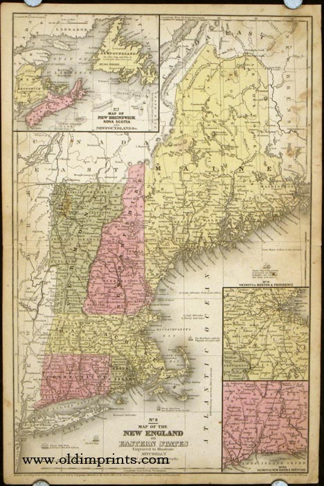 Map of the New England or Eastern States. NEW ENGLAND.