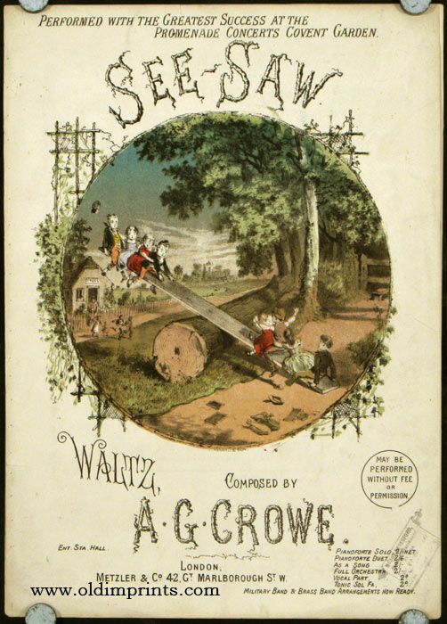 See-Saw. Waltz, Composed by A.G. Crowe. CHILDREN'S GAMES - MUSIC SHEET COVER.