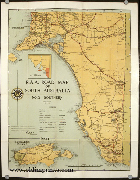 A. A. Road Map of South Australia. Map title: A. A. Road Map of South Australia. No. 2 Southern. AUSTRALIA.