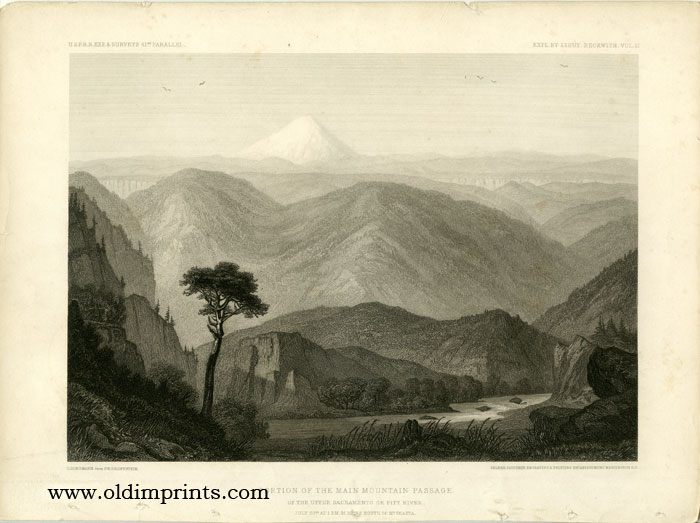 Portion of the Main Mountain Passage. Of the Upper Sacramento or Pitt River. July 20th at 1 p.m. 25 Miles South of Mt. Shasta.[Vintage Pacific Railroad Survey Lithograph]. 41st PARALLEL.