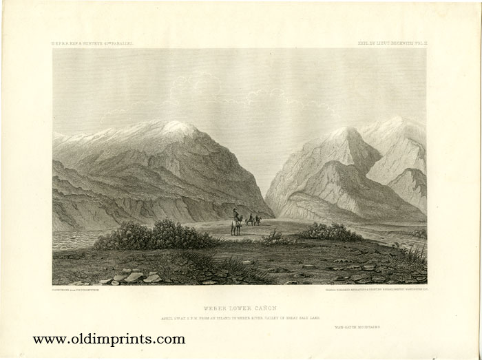 Weber Lower Canon. April 5th at 2 p.m. From an Island in Weber River, Valley of Great Salt Lake. Wah-Satch Mountains. 41st PARALLEL.