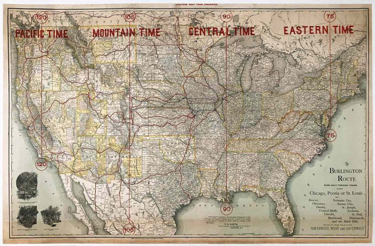 The Burlington Route Runs Daily Through Trains Between Chicago, Peoria, or St. Louis. US RAILROAD WALL MAP ca. 1892.