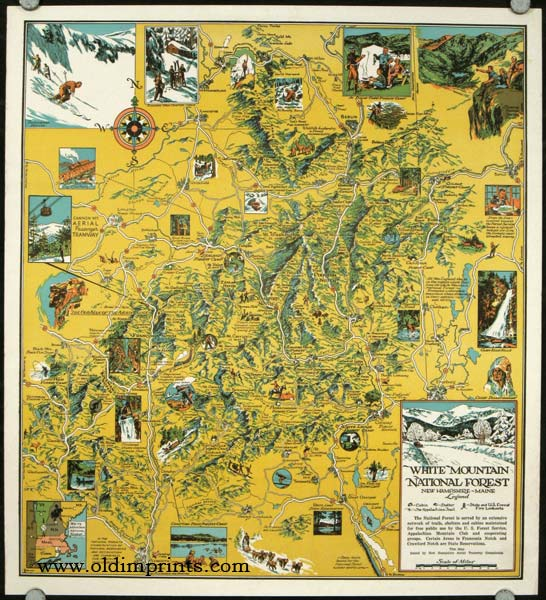 White Mountain National Forest. New Hampshire - Maine. VINTAGE POSTER. NEW HAMPSHIRE - WHITE MOUNTAINS.