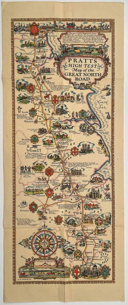Pratts High Test Map of the Great North Road. ENGLAND.
