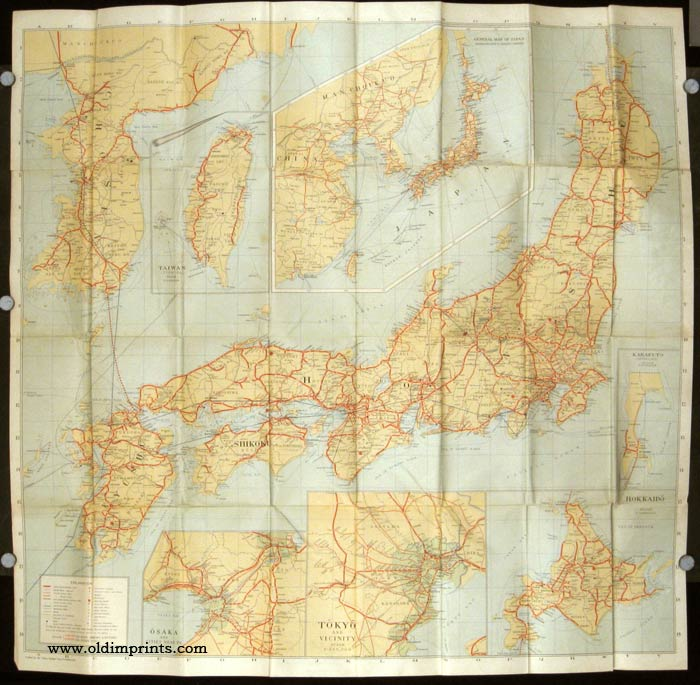 Travellers' Map of Japan With brief descriptions of the principal tourist points 1936. JAPAN / KOREA / TAIWAN.