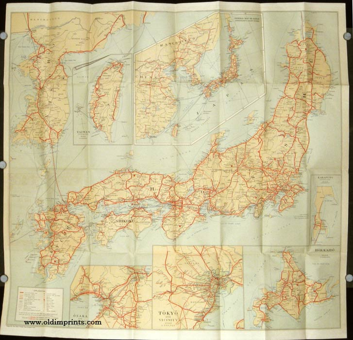 Travelers' Map of Japan Chosen (Korea) Taiwan (Formosa) With Brief Descriptions of the Principal Tourist Points in Japan 1933. JAPAN / KOREA / TAIWAN.