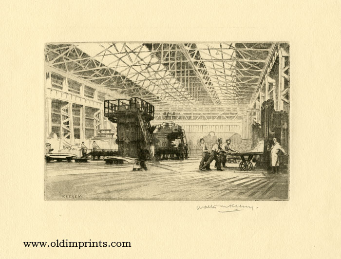 Untitled etching showing Birmingham Plant of Henry Wiggin and Company, Limited. W. M. KEESEY.