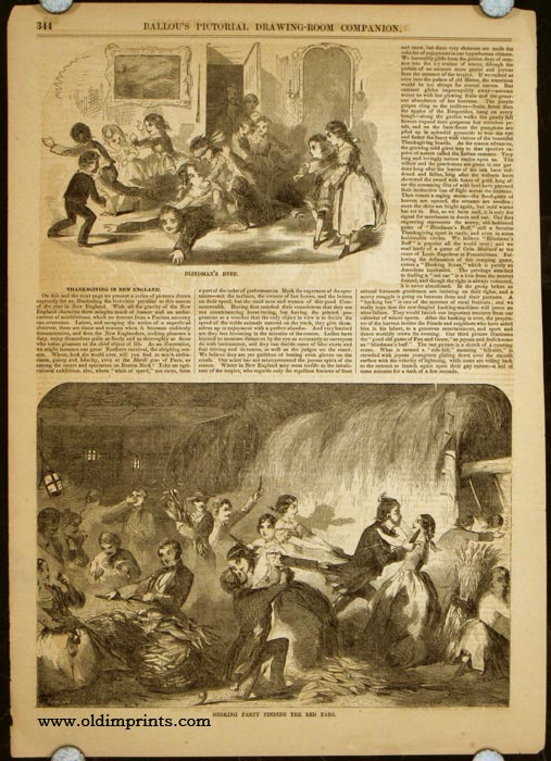 Blindman's Buff / Husking Party Finding the Red Ears / Family Party Playing at Fox and Geese / Coasting Out of Doors (article title: Thanksgiving in New England). -28.