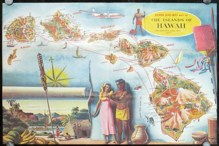 In Hawaii vacation with Aloha Airlines to flightsee all the islands. Map title: The Hawaiian Islands. HAWAII / ALOHA AIRLINES.