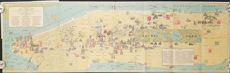 Pictorial Map of New York City. NEW YORK - NEW YORK CITY - CHASE BANK.