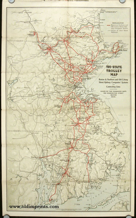 Trolley Trips. Boston & Northern Street Ry. Co. Map title: Tri-State Trolley Map Showing Boston & Northern and Old Colony Street Railway Companies' Systems and Connecting Lines. BOSTON, NORTHERN STREET RAILWAY COMPANY.