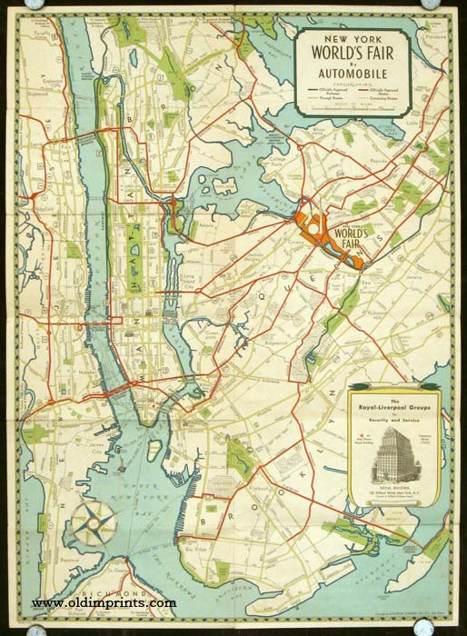 Welcome to the World's Fair New York 1939. Map title: New York World's Fair by Automobile. NEW YORK CITY/ WORLD'S FAIR.