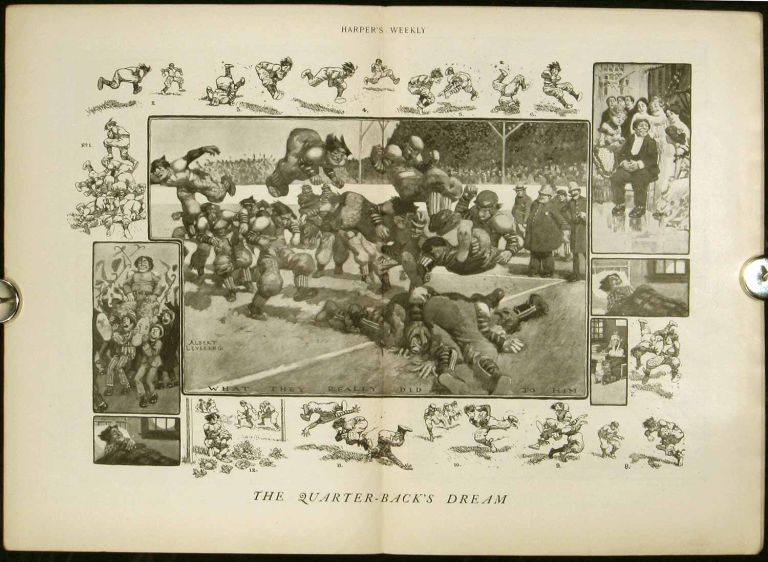 "Harper's Weekly. COMPLETE ISSUE, including centerfold illustration ""The Quarter-back's Dream"" FOOTBALL / CHINA - SHANGHAI."