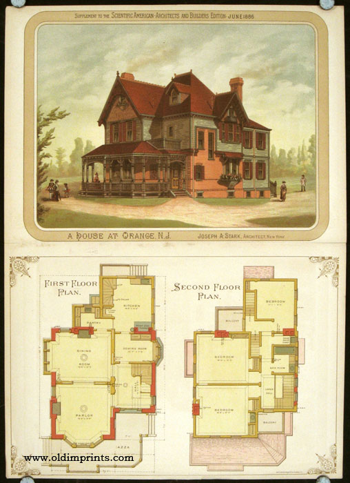A House at Orange, N.J. AMERICAN VICTORIAN ARCHITECTURE / CHROMOLITHOGRAPH.