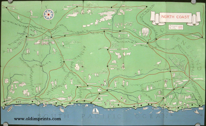 North Coast. New South Wales Australia. For the Tourist. Map title: North Coast. AUSTRALIA - NEW SOUTH WALES - NORTH COAST.